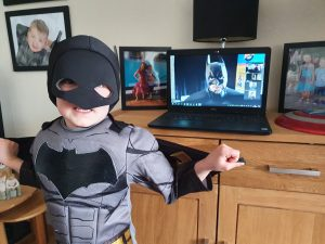 Online party with Batman